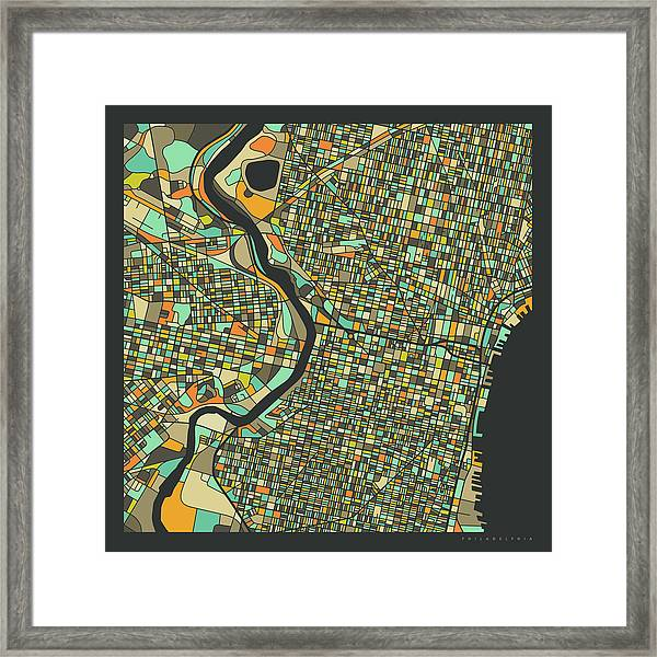 Philadelphia Map 2 Framed Print