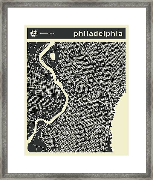 Philadelphia Map 3 Framed Print