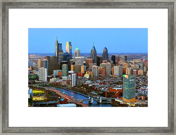 Philadelphia Skyline At Dusk 2018 Framed Print
