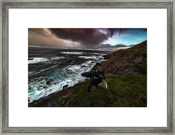 Photo Gear On Landscape Shot Framed Print
