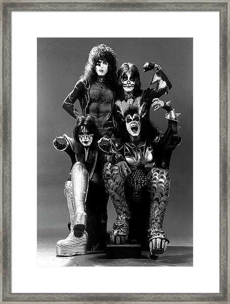 Photo Of Ace Frehley And Peter Criss Framed Print