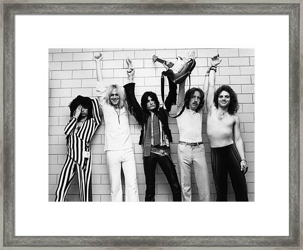 Photo Of Aerosmith And Tom Hamilton And Framed Print