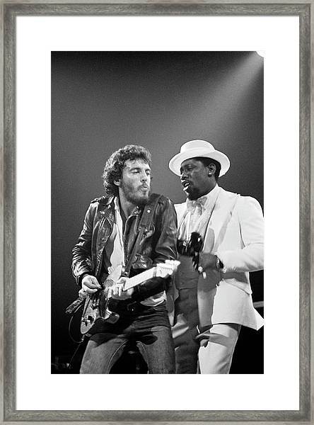 Photo Of Bruce Springsteen And Clarence Framed Print by Fin Costello