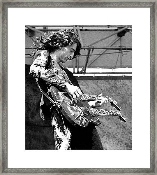 Photo Of Jimmy Page And Led Zeppelin Framed Print by Ed Perlstein