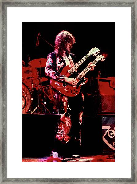 Photo Of Jimmy Page And Led Zeppelin Framed Print