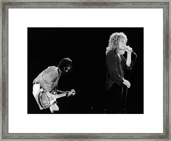 Photo Of Jimmy Page And Robert Plant Framed Print