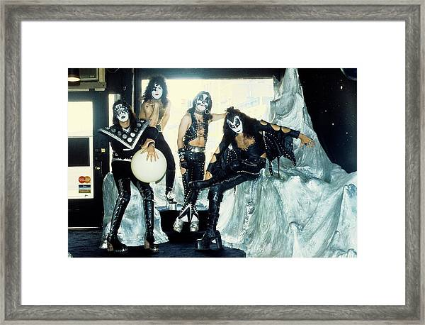 Photo Of Kiss And Gene Simmons And Paul Framed Print