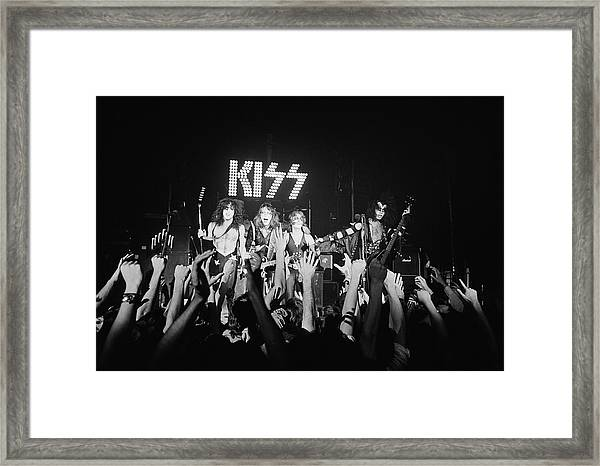 Photo Of Kiss And Paul Stanley And Gene Framed Print