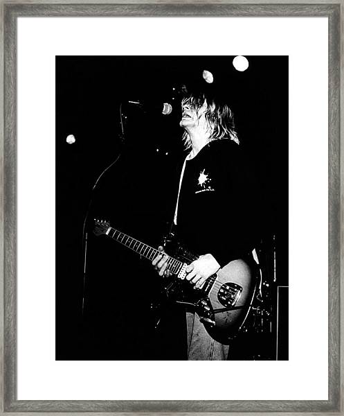 Photo Of Kurt Cobain And Nirvana Framed Print by Paul Bergen