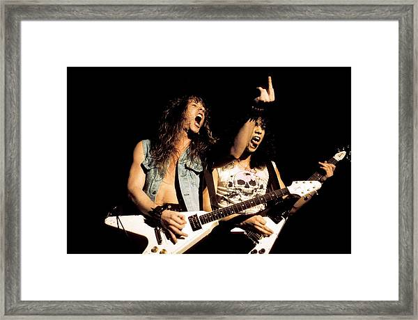 Photo Of Metallica And Kirk Hammett And Framed Print by Pete Cronin