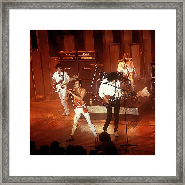 Photo Of Queen  And Freddie Mercury And Framed Print