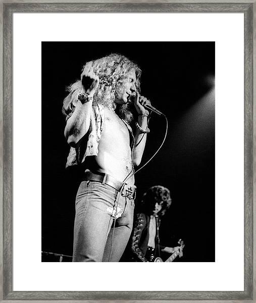 Photo Of Robert Plant And Led Zeppelin Framed Print