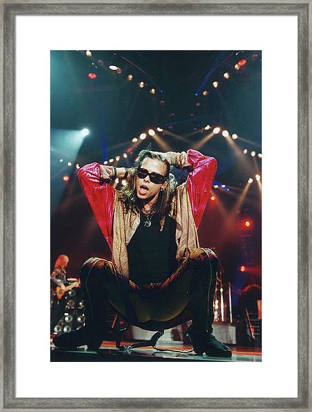Photo Of Steven Tyler And Aerosmith Framed Print