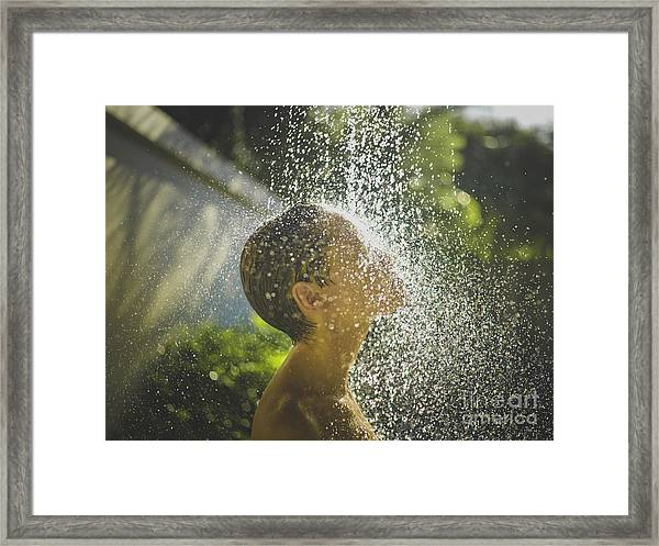 Photo Of  Young Woman Enjoying Shower Framed Print