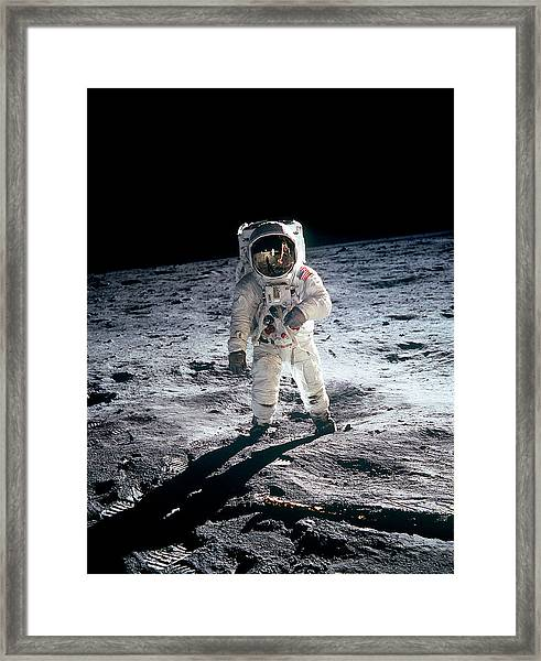 Photograph Of Edwin Aldrin Taken During Framed Print