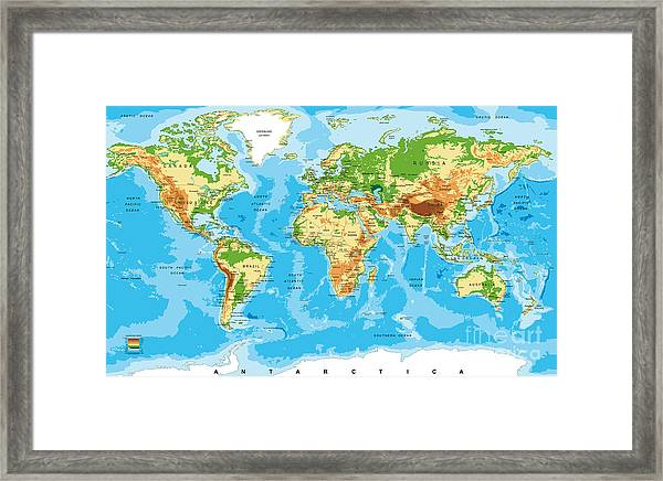 Physical Map Of The World Framed Print