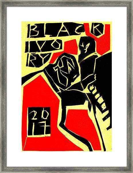 Piano Player Black Ivory Woodcut Poster 31 Framed Print