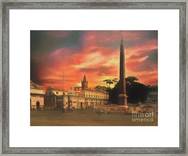 Piazza Del Popolo Rome Framed Print