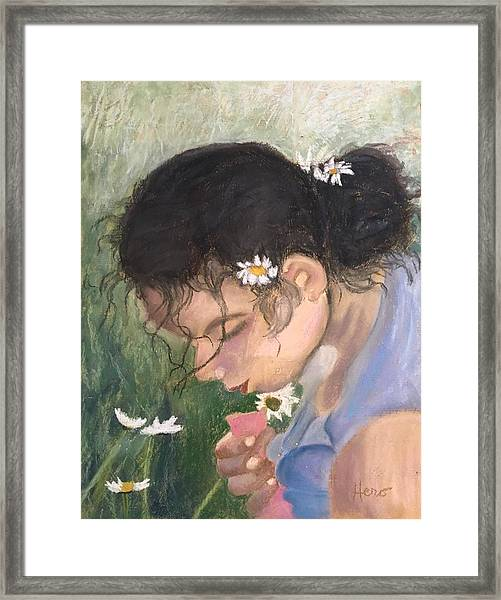 Picking Daisies Framed Print