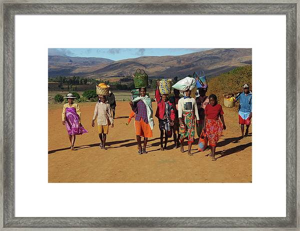 Picturesque Farmers In The Moutains Framed Print by Friedrich Schmidt