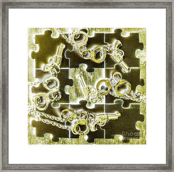 Piecing Puzzles Of A Crime Framed Print