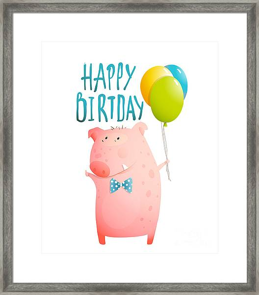 Pig Congratulating With Balloons And Framed Print