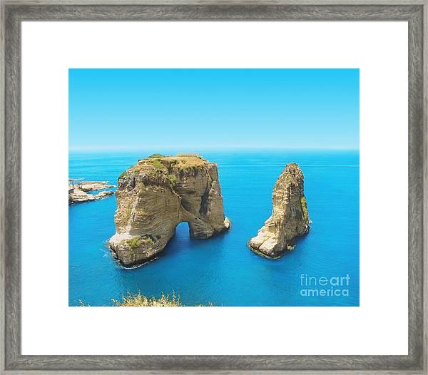 Pigeon Rocks - Symbol Of Lebanon Framed Print
