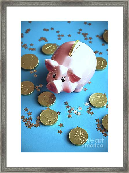 Piggy Bank On The Background With The  Chocoladen Coins Framed Print