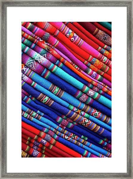 Piles Of Colorful Cloth For Sale Framed Print