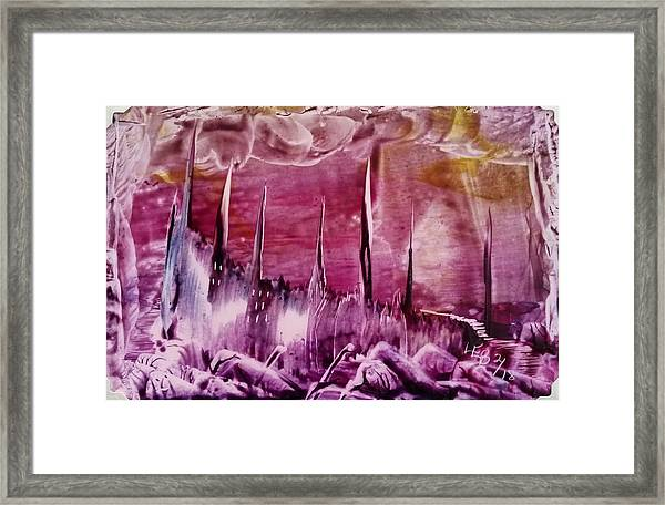 Pink Abstract Castles Framed Print