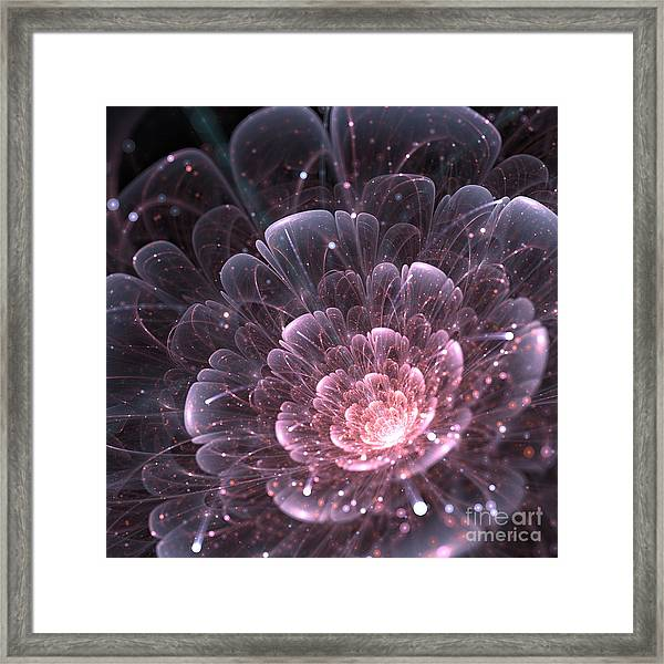 Pink Abstract Flower With Sparkles On Framed Print