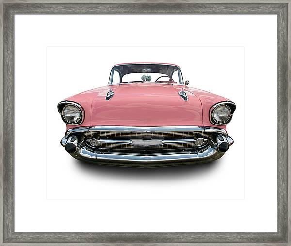 Pink Chevrolet Bel Air 1957 Framed Print by Schlol