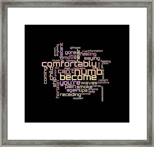 Pink Floyd - Comfortably Numb Lyrical Cloud Framed Print