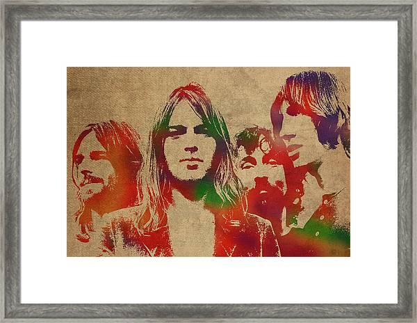 Pink Floyd Watercolor Portrait Framed Print