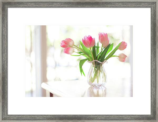 Pink Glass Vase Of Pink Tulips In Window Framed Print