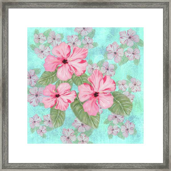 Pink Hibiscus Print On Aqua Framed Print
