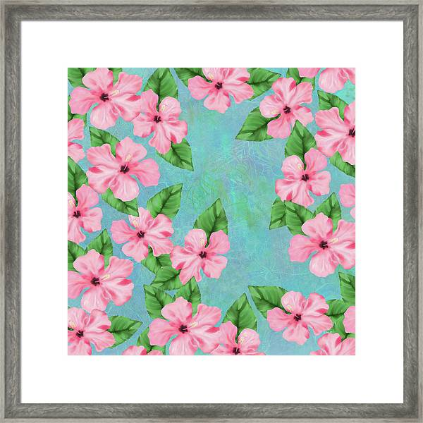 Pink Hibiscus Tropical Floral Print Framed Print