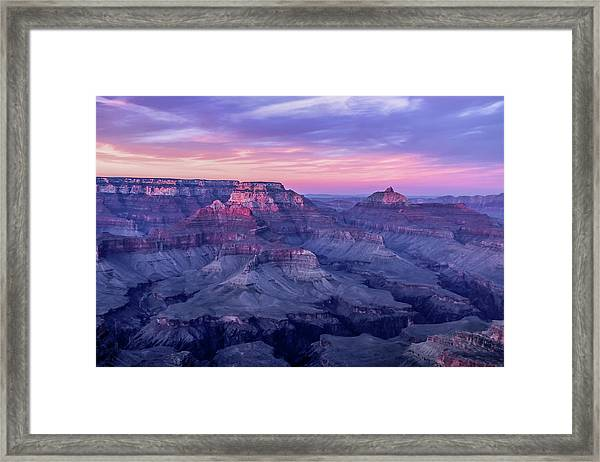 Framed Print featuring the photograph Pink Hues Over The Grand Canyon by Dawn Richards