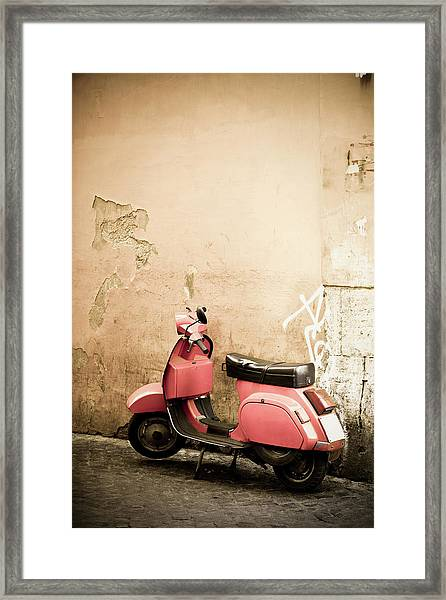 Pink Scooter And Roman Wall, Rome Italy Framed Print