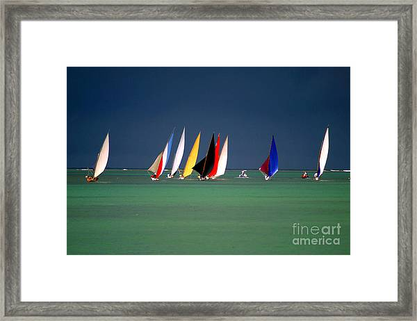 Pirogues On The Horizon In Front Of Framed Print