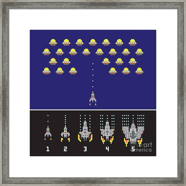 Pixel Art Style Space War And Spaceship Framed Print by Dmitriylo