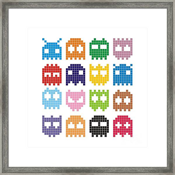 Pixel Monster Icon Framed Print by Lazyvector