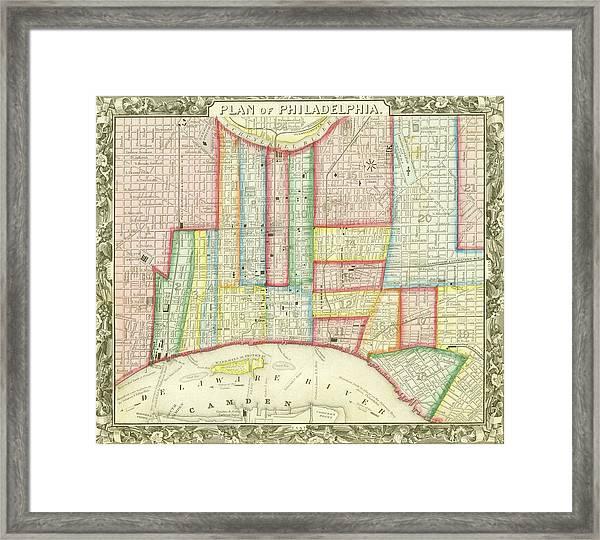Plan Of Philadelphia, 1860 Framed Print