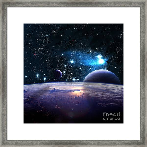 Planets Over The Nebulae In Space Framed Print