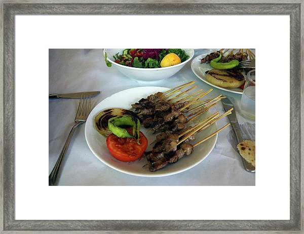 Plate Of Kebabs And Salad For Lunch Framed Print