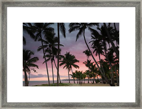 Playa Las Terrenas Beach At Dawn, Las Framed Print
