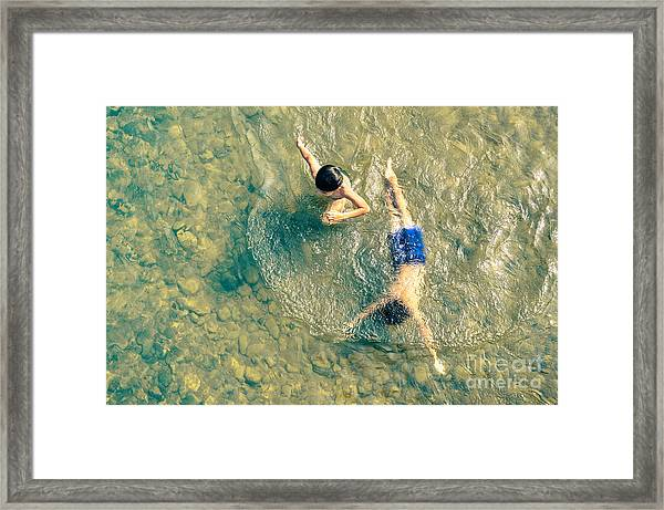 Playful Children Swimming In Nam Song Framed Print