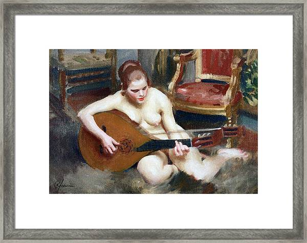 Playing On The Lute Framed Print