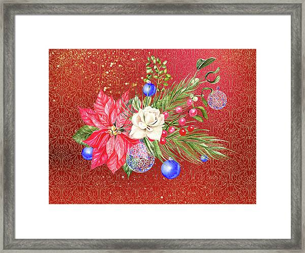 Poinsettia With Blue Ornaments  Framed Print