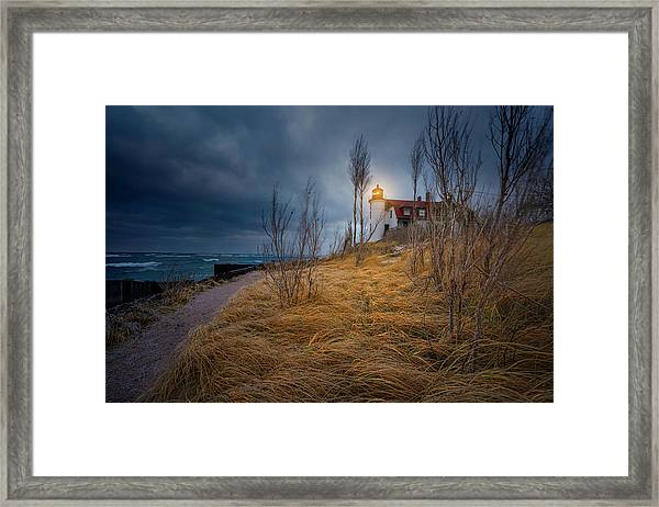 Point Betsie Lighthouse In Frost Framed Print